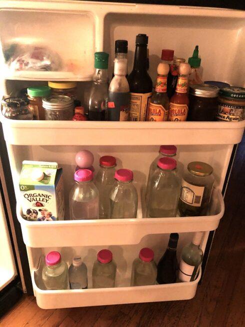 smelling fridge